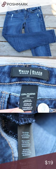 White House Black Market Girlfriend Jeans A cool pair of girlfriend blue jeans by WHBM. Fabric: 72% cotton, 14% rayon, 11% polyester, and 2% elastic Made in Philippines Condition: Brand new! Size: Woman's 00 White House Black Market Jeans Skinny