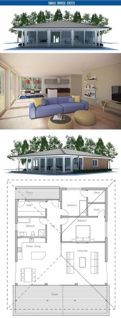 Two Bedroom Small House Plan with open planning, covered terrace, big bathroom, WIC in both bedrooms. Floor area: 1270 sq ft, Cost to Build: from $ 110 000