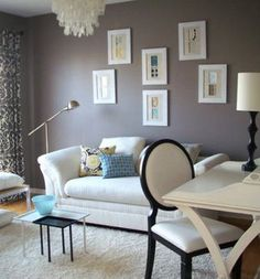 Dens/libraries/offices   Living Room Taupe Brown Purple Walls White Sofa  Desk Chair