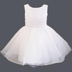 Robe de baptême en tulle blanc, dentelle, perles Chloé