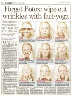 Wipe out wrinkles with face yoga! Wipe out wrinkles with face yoga! Yoga Facial, Massage Facial, Neck Exercises, Facial Exercises, Anti Rides Yeux, Flat Belly Challenge, Too Faced, Face Care, Skin Care