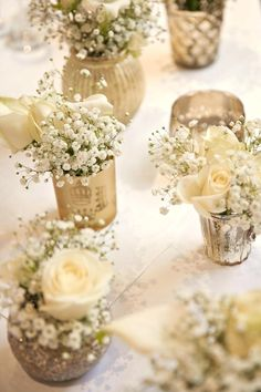 Gold White Flowers Baby Breath Tables Centrepiece Classic Chic Simple Elegant Champagne Wedding Diy Centerpiece Ideas Pinterest Table Decor Do It Yourself Ce