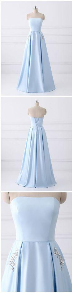A-line Strapless Simple Long Cheap Prom #prom #promdress #dress #eveningdress #evening #fashion #love #shopping #art #dress #women #mermaid #SEXY #SexyGirl #PromDressesDresses with