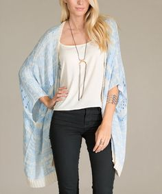 Look at this #zulilyfind! Blue Tribal Cape-Sleeve Sidetail Cardigan by Flying Tomato #zulilyfinds
