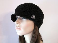 Crochet Hat, Crochet Newsboy Hat, Womens Hat, Newsboy Cap, Beanie, Black, Baseball Cap, Autumn Fashion. $29.00, via Etsy.