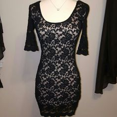 BLACK LACE DRESS Black lace with nude lining underneath Nella fantasia Dresses Mini