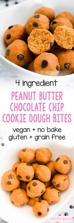 Vegan no bake peanut butter chocolate chip cookie dough bites are a quick and easy sweet treat, full of peanut butter and chocolate flavor! Made with just 4 healthy ingredients, gluten and grain free, and fruit sweetened. #cookiedough #nobakerecipe #vegan