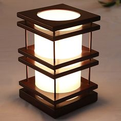 Modern Tower-shaped  Natural Wooden Table Lamp Bedside Lamp – USD $ 69.99