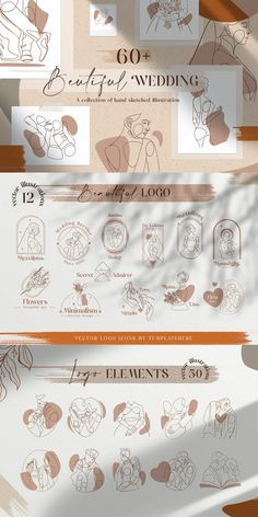 Beautiful Wedding Vector Illustration + Logo Line Art - AI, EPS Wedding Illustration, Wedding Wall, Logo Line, Hand Sketch, Drawing Base, Magazine Template, Vector Graphics, Line Art, How To Draw Hands
