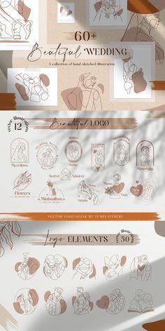 Beautiful Wedding Vector Illustration + Logo Line Art - AI, EPS