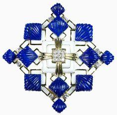 David Webb enamel and lapis lazuli brooch