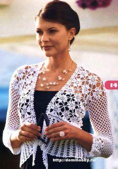 Белый летний жакет, crochet bolero or short jacket