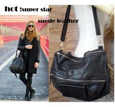 2013 Black Suede Leather bags For Women Fashion Genuine Leather Handbag Totes Zipper Hobos Designer Shoulder Bag $98.99
