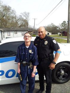 Blaize is 18 years old and has autism. Blaize's dream was to be a police officer, and on his 18th birthday the local police gave him a tour of their office, a ride in their car and a uniform to wear. The officer in this photo, Mike Hill, visits with Blaize on a regular basis. ....How many likes deserves this great officer for making someone's dreams come true ?!!!