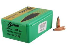 Sierra GameKing Bullets 30 Caliber Diameter) 150 Grain Spitzer Boat Tail Box of 100 Reloading Dies, Reloading Supplies, Bullet Drop, 300 Blackout, Hollow Point, Guns And Ammo, Grains, Boat, Hunting