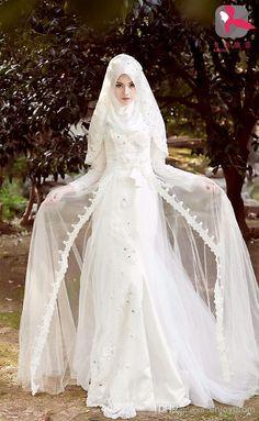 2015-custom-made-a-line-muslim-wedding-dresses.jpg #MuslimWedding, www.PerfectMuslimWedding.com