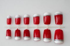 Red False Nails with White Tips Lined with Silver Glitter on Etsy, $10.00