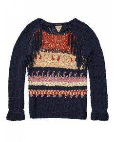 Bohemian tape yarn sweater with fringing - Sweaters - Official Scotch & Soda Online Fashion & Apparel Shops