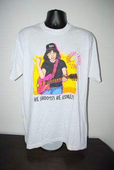 d0c78e5ba4 1992 Wayne s World He Shoots! He Scores! Rare Vintage 90 s Cult Classic  Saturday Night Live Rocker Party Skit TV Show T-Shirt