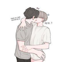 Jimin Fanart, Vkook Fanart, Vmin, Yoonmin, K Pop, Bts Kiss, Kagehina Cute, Dibujos Cute, Cute Gay Couples