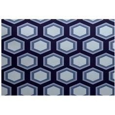 Simply Daisy 3' x 5' Hex Appeal Geometric Print Indoor Rug, Blue