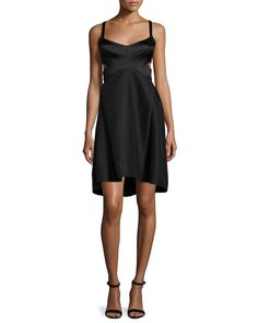 Sleeveless Sweetheart-Neck Dress, Black, Women's, Size: 6 - Halston Heritage