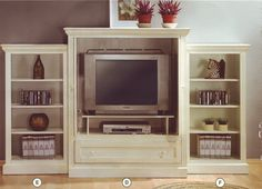 Entertainment Center - Country White Finish Entertainment Center TV Wall Unit