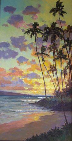 Ronaldo Macedo | Maui's Golden Hour | size: 48x24 | #mauibeaches #mauiart #lahainagalleries www.lahainagalleries.com