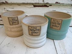 Stoneware Clay Flower Pot Personalized Planter by jclayPottery, $35.00  In sand color with word you help me flourish