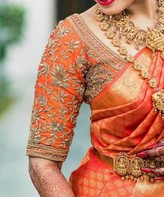 Check out latest bridal blouse designs with designer neck and sleeves to complete your wedding look. Blouse designs catalogue blouse designs back sid