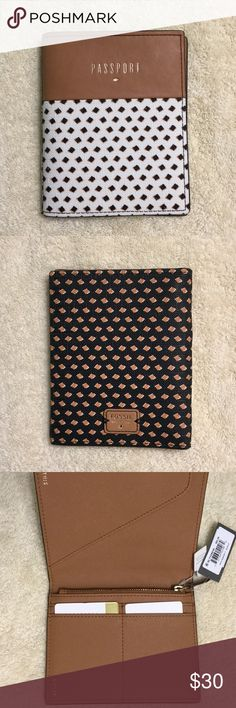 Authentic Fossil Passport Holder Get ready for vacation with this adorable passport holder. Pockets on the inside with a zipper pocket as well. Brand new never used. Fossil Bags Wallets