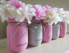 Pink and Gray Distressed Mason Jars. Baby Shower by MyHeartByHand