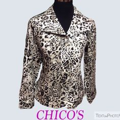 CHICO'S ANIMAL PRINT BLAZER Stunning blazer made of 100% cotton with a fabulous animal print and material covered buttons. Like new. Size 0 in Chico sizing is equal to a 4.      HIC-1 Chico's Jackets & Coats Blazers