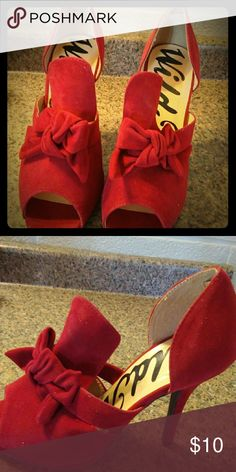 Red velvet  high heels They're made with red velvet and they have a red velvet bow on the open toe wild Rose Shoes Heels