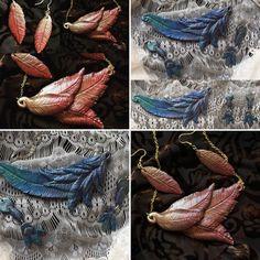 Custom made feathers / jewelry set / by MacTiereLunaCreation