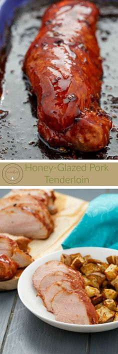 Honey-Glazed Pork Tenderloin | http://thecookiewriter.com | @thecookiewriter | #pork | A simple recipe that is completed in under 30 minutes: you need to baste often to keep the honey from burning!