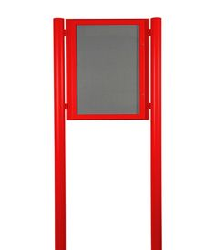 Post mounted External Notice Boards. Ideal for Churches, Clubs, Village halls, Community buildings and business signage. Shown here in eye catching Traffic Red. Quick UK delivery from £362 - http://www.xldisplays.co.uk/products/External-Notice-Board-Post-Mounted.html