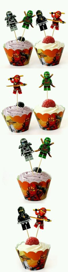 Cake Toppers 170165: 24 Lego Ninjago Cupcake Wrappers And Toppers -> BUY IT NOW ONLY: $108.95 on eBay! Lego Cupcakes, Cupcake Wrappers, Lego Ninjago, Cake Toppers, Cards, Ebay, Maps, Playing Cards