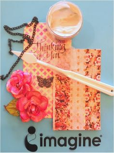 Thinking of You Tag by Renee Zarate using On Point Glue, Fireworks Craft Spray and Memento ink. pink, stencil, flowers, embellishments.