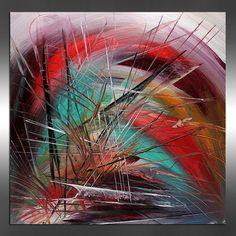 Abstrait Art contemporain peinture oeuvre rouge turquoise violet enfants chambre toile chambre Art enfants peinture acrylique couteau bébé  Autres tableaux disponibles ici : http://www.etsy.com/shop/largeartwork  =========================================================  TITRE : Art abstrait 87  Dimensions : 24 24 large, haut, 3/4 po profond (toile tendue prête à accrocher)  ============================================================  ~ ~ COULEUR : rouge, Orange, turquoise, Turquoise…