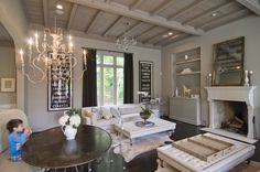 Looks like a Restoration Hardware house. Living Room Decor, Living Spaces, Living Rooms, Restoration Hardware Living Room, Kitchen Keeping Room, Mountain Cabin Decor, Home Suites, Family Room Design, Family Rooms