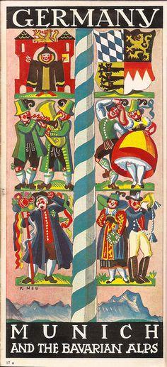 German Railways guide - Munich & the Bavarian Alps, illustrated by Paul Neu?, 1936 by mikeyashworth,