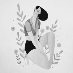 Drawing from Inktober Rafael Mayani Flower Illustrations, People Illustration, Illustrations And Posters, Character Illustration, Digital Illustration, Graphic Illustration, Poster S, Wow Art, Monochrom