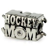 OHM Hockey Mom Sterling Silver with CZ Focal Bead Charm for European Bracelets Hockey Puck, Hockey Mom, Hockey Stuff, Sports Equipment, Baby Items, Sterling Silver, Beads, My Style, Gifts