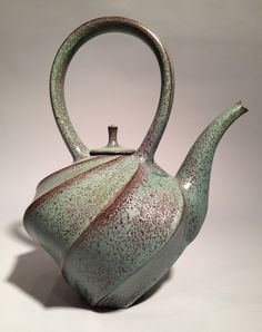 "Jim Connell, ""Red/Green Carved Teapot"", stoneware — Sherrie Gallerie"