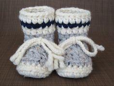 Work Sock Grey with Navy Blue Stripe BABY Toddler by 2CheekyChicks