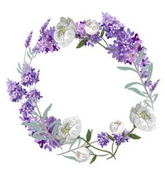 Lavender and peony round frame template vector