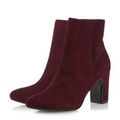 DUNE FEMME - OPEL - Bottines à bout arrondi et talons carrés - bordeaux   Boutique en ligne Dune Shoes