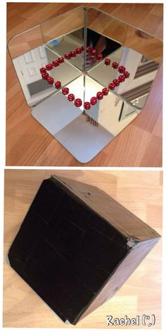 How to make a Tri-Fold Mirror and a Triangular Prism Mirror Box - Stimulating Learning Mirror Box, Diy Mirror, Mirror Ideas, Homemade Mirrors, 3 Way Mirrors, How To Make Mirror, Preschool Tables, Montessori, Triangular Prism