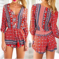 Ethnic Style V-Neck 3/4 Sleeve Printed Women's Romper Jumpsuits & Rompers | RoseGal.com Mobile